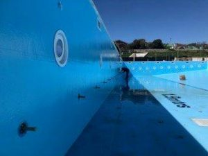 large leaking swimming pool