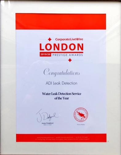 Leak Detection Award Certificate